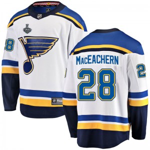 Youth Fanatics Branded St. Louis Blues MacKenzie MacEachern White Mackenzie MacEachern Away 2019 Stanley Cup Final Bound Jersey